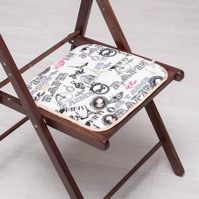 Сидушка на стул Старый Париж желтый 35х35см, канвас/спанбонд 240г/м, х/б 60%, п/э 40% Ош