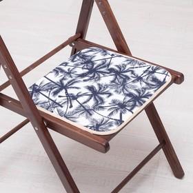Сидушка на стул Черные пальмы 35х35см, канвас/спанбонд 240г/м, х/б 60%, п/э 40% Ош