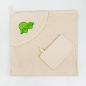 Полотенце с уголком и рукавицей, размер 90х90, цвет бежевый, махра, хл100% Ош