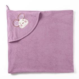 Полотенце с уголком и рукавицей, размер 90х90, цвет сиреневый, махра, хл100% Ош