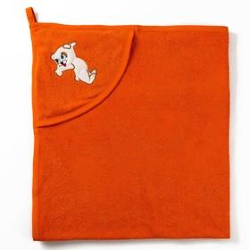 Полотенце с уголком и рукавицей, размер 90х90, цвет оранжевый, махра, хл100% Ош