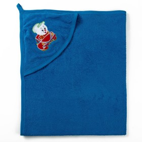 Полотенце с уголком и рукавицей, размер 90х90, цвет синий, махра, хл100% Ош