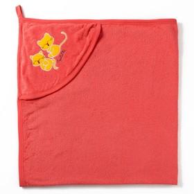 Полотенце с уголком и рукавицей, размер 90х90, цвет  коралловый, махра, хл100% Ош