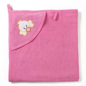 Полотенце с уголком и рукавицей, размер 90х90, цвет светло-розовый, махра, хл100% Ош