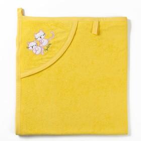 Полотенце с уголком и рукавицей, размер 90х90, цвет желтый, махра, хл100% Ош