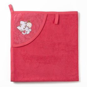 Полотенце с уголком и рукавицей, размер 90х90, цвет розовый, махра, хл100% Ош