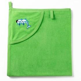 Полотенце с уголком и рукавицей, размер 90х90, цвет зеленый, махра, хл100% Ош