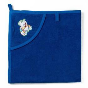 Полотенце с уголком и рукавицей, размер 90х90, цвет темно-синий, махра, хл100% Ош