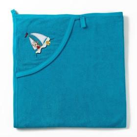 Полотенце с уголком и рукавицей, размер 90х90, цвет голубой, махра, хл100% Ош