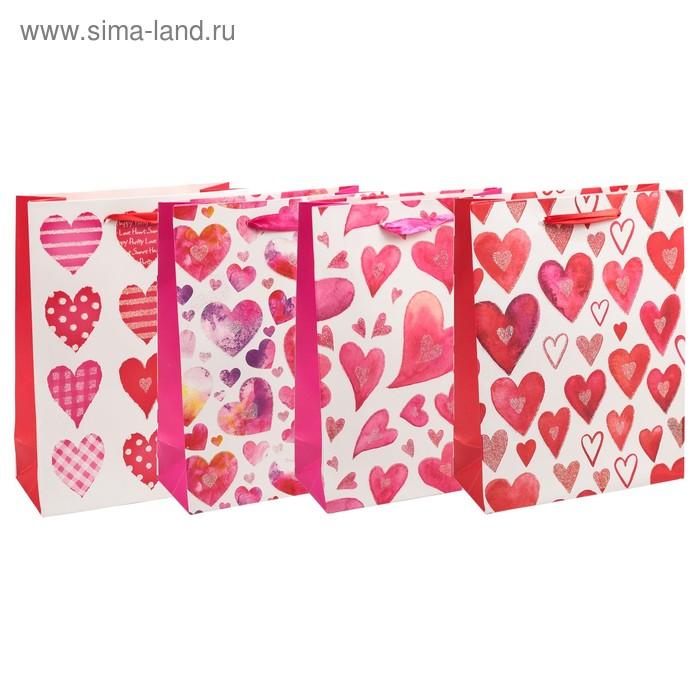 "Пакет подарочный ""Сердечки"", люкс, МИКС, 26 х 10 х 32 см"