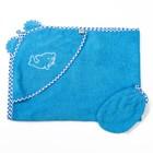 Комплект для купания (уголок 100*80 см, рукавичка), голубой, махра, хл100% 340 гм