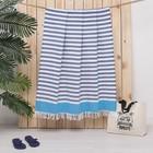 Полотенце пештемаль Turkish towel Полоса, голубой бордюр, 100х150 см, 330г/м2, хлопок 100%