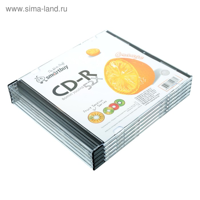 Диск CD-R Smartbuy Fresh-Orange, 52х, 700 Мб, Slim, 5 шт