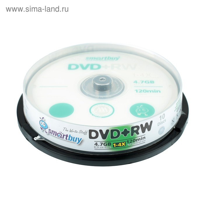 Диск DVD+RW Smartbuy, 4х, 4,7 Гб, Cake Box, 10 шт