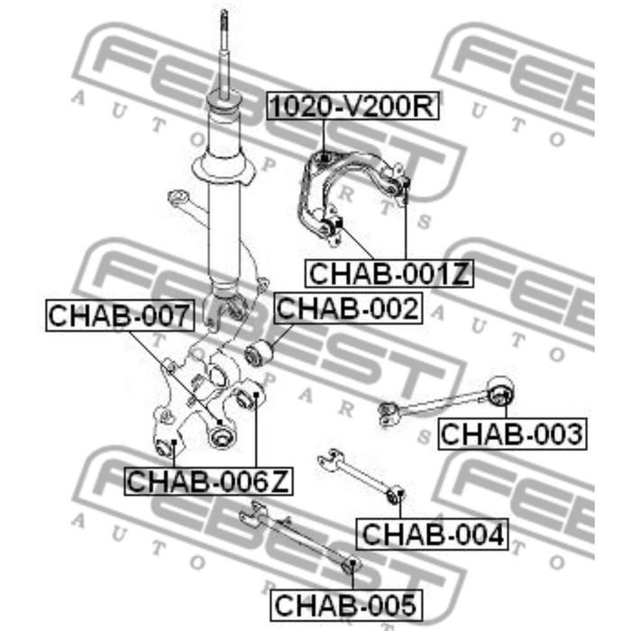 Сайлентблок задней поперечной тяги febest chab-004