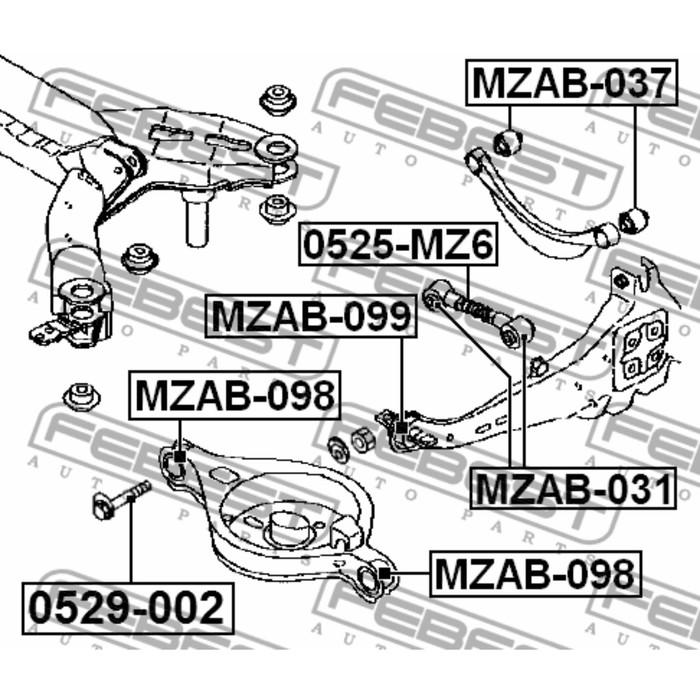 Сайлентблок заднего рычага febest mzab-037