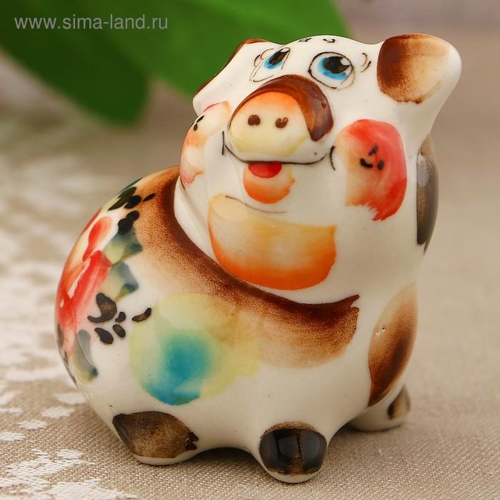 Сувенир «Свинка Фрося», 5 см, гжель, цвет