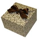"Коробка крафт из рифленого картона с бантом ""Розочки"" 13 х 13 х 8 см."