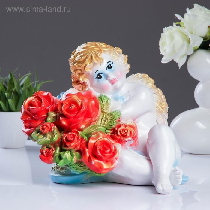 """Статуэтка """"Ангел Валентин с розами"""" глаза открыты"""