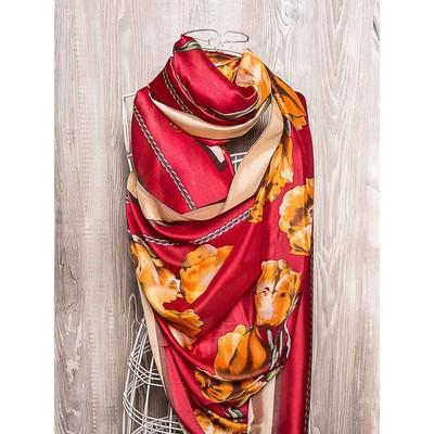 Платок женский, размер 180х90 см, цвет красный K01P25111