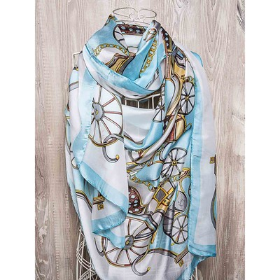 Платок женский, размер 180х90 см, цвет голубой  K01P2562