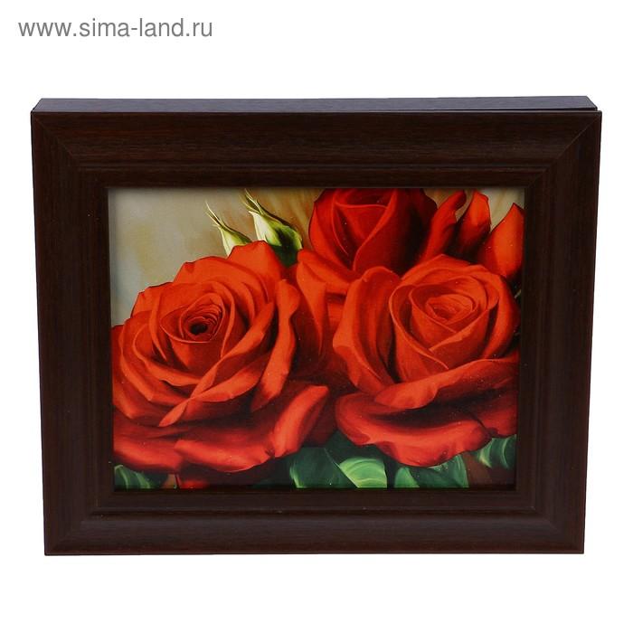 """Ключница """"Красные розы"""" венге 25х30 см"""