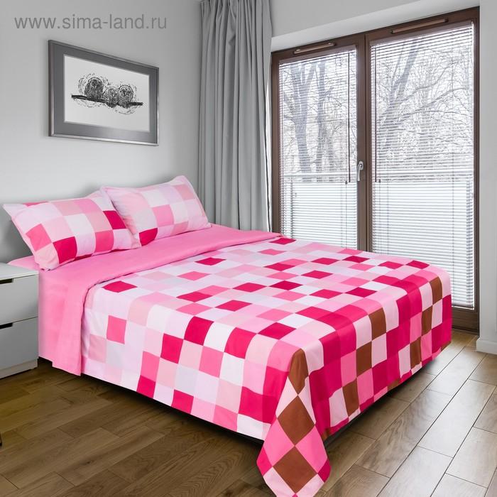 """Постельное бельё """"Этель"""" 1,5 сп. Пиксели (розовый) 150х210 см, 150х210 см, 50х70 + 3 см - 2 шт., новосатин"""