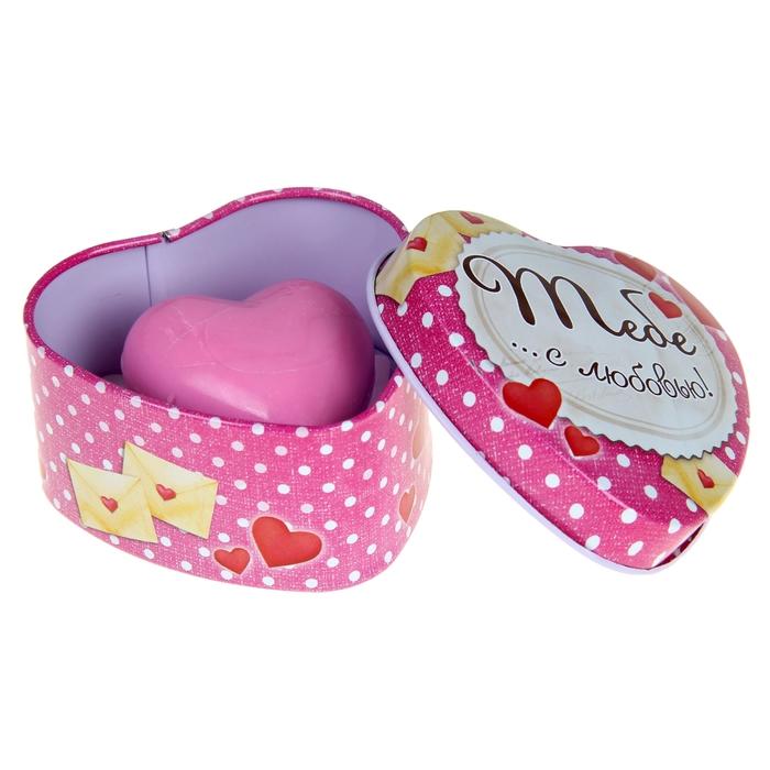 """Набор мыльные лепестки + свеча в шкатулке-сердце """"Тебе с любовью"""""""