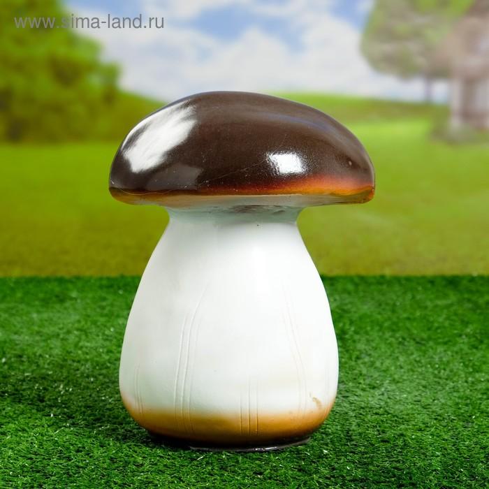 """Садовая фигура """"Белый гриб"""" средний, тёмная шляпка, бело-бежевая ножка"""