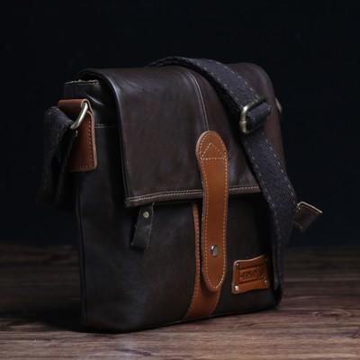 Планшет муж 196-8005, 23*6*28, отд на молнии, н/карман, длин ремень, коричневый