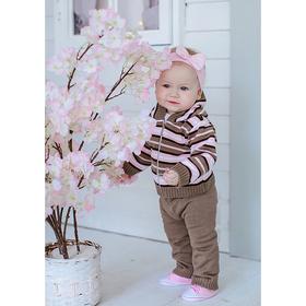 Костюм детский (кофточка+штанишки), рост 98 см, цвет розовый, принт полоска