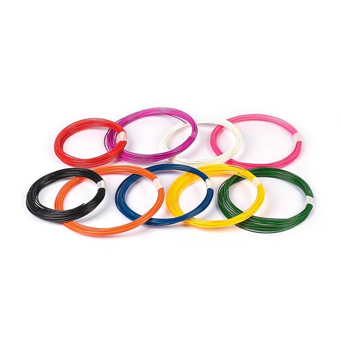 Пластик PLA-9, по 10 м, 9 цветов в наборе