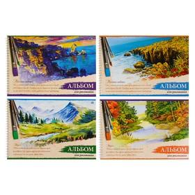 Альбом для рисования А4, 48 листов на гребне 'Живопись', мелованный картон, микс Ош
