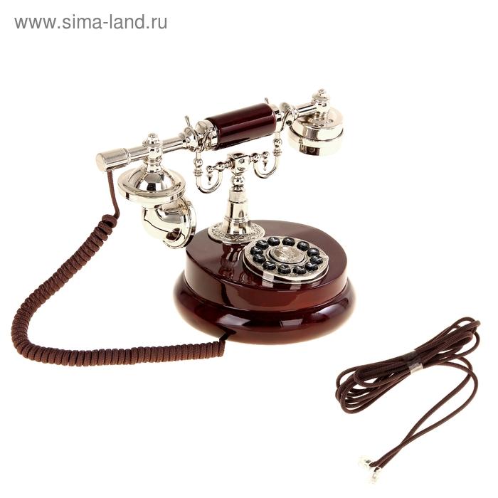 Ретротелефон круглый, цвет: вишнёвое дерево