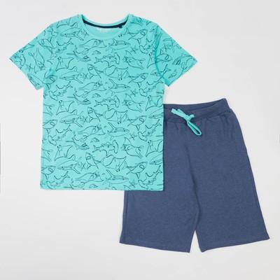 Комплект для мальчика (футболка, шорты), рост 146 см, цвет бирюзовый