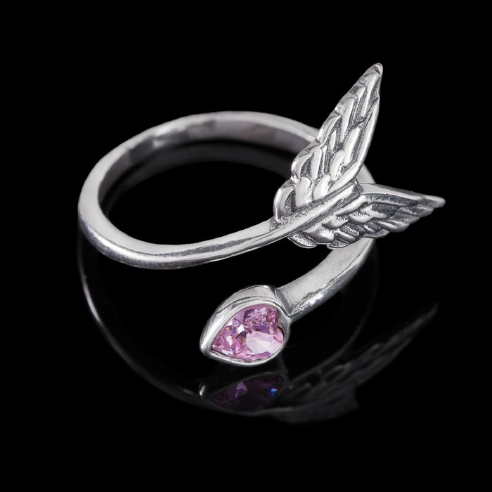 """Кольцо """"Яратау"""", безразмерное, цвет розовый в чернёном серебре"""