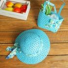 Набор сумочка и шляпка с бантом р-р 50-52 см, цвет голубой