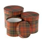 "Набор коробок 3в1 ""Шотландка красная крафт"", 20 х 20 х 20 - 15 х 15 х 15 см"