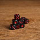Кости игральные 1,4х1,4см чёрные с красными точками (фасовка 100шт)