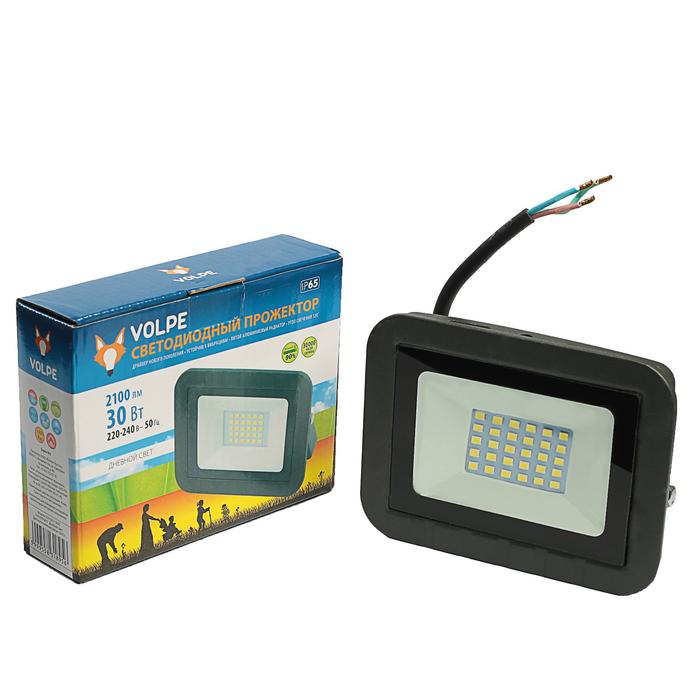 Прожектор светодиодный Volpe, свет (6500К),  Корпус черный, 30 Вт, 230 В,