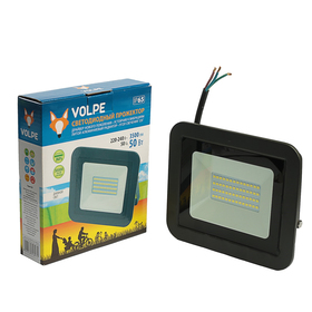 Прожектор светодиодный Volpe, свет (6500K), Корпус черный, 50 Вт, 230 В Ош