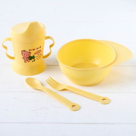Набор посуды 4 предмета, тарелка, вилка и ложка, поильник твердый носик 200 мл., Цвета МИКС 282538 Ош
