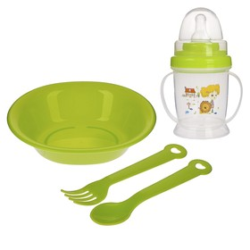 Набор посуды 4 предмета, тарелка, вилка и ложка, поильник с соской 200 мл., Цвета МИКС Ош