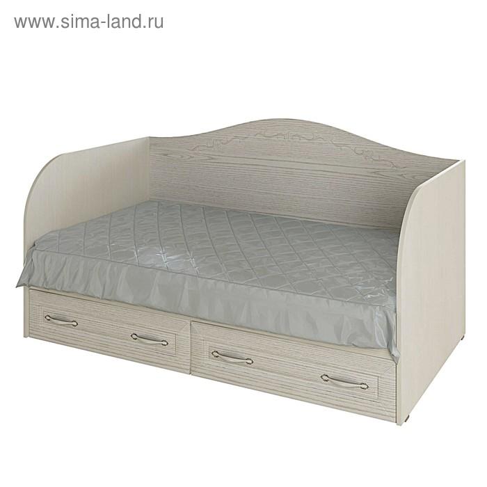 Кровать-диван с 2-мя ящиками Герда, 1952х840х806, Рамух белый/Ясень патина