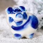 Сувенир «Поросёнок Пупс», 2,5 см, гжель
