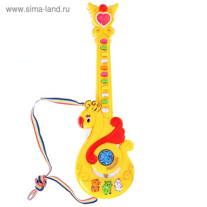 """Гитара """"Лебедь"""", звуковые эффекты, работает от батареек, цвета МИКС"""
