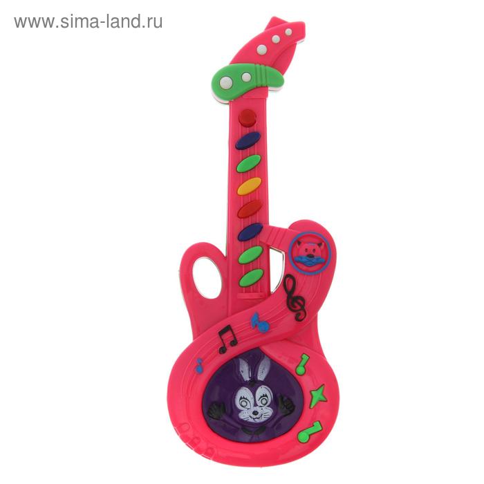 """Гитара """"Зайчик"""", звуковые эффекты, работает от батареек, цвета МИКС"""