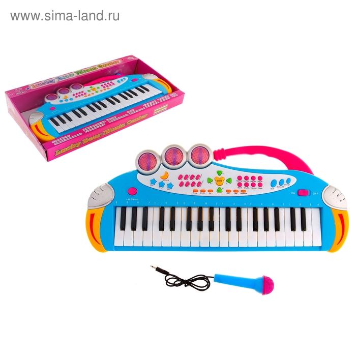 Синтезатор с микрофоном, световые и звуковые эффекты, работает от батареек