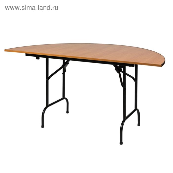 """Складной полукруглый стол """"Лидер 11"""", диаметр 800 мм, ножки чёрные, столешница вишня"""