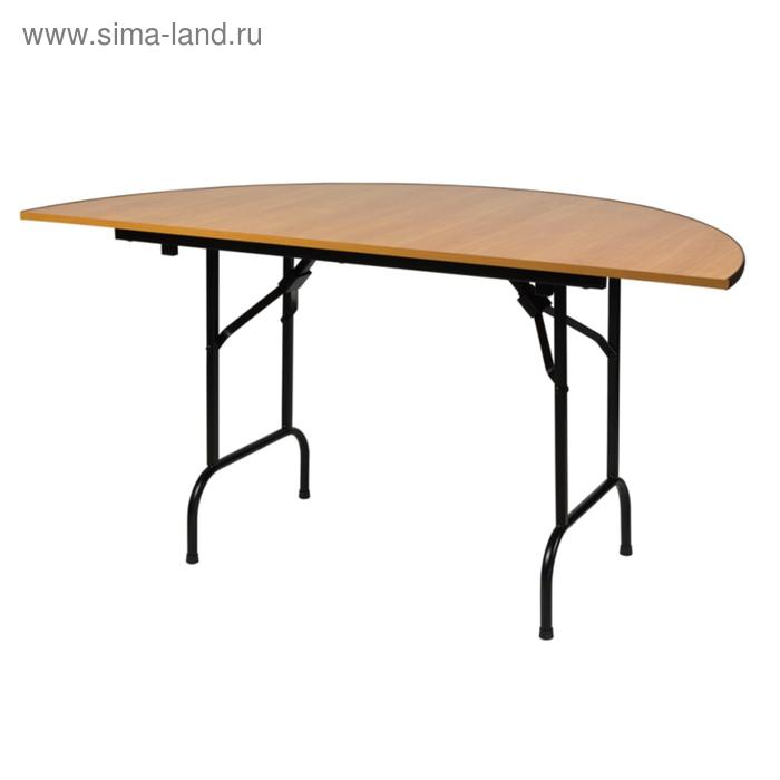 """Складной полукруглый стол """"Лидер 11"""", диаметр 800 мм, ножки чёрные, столешница бук"""